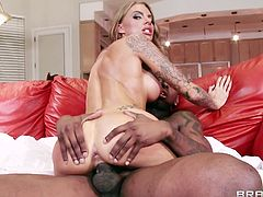 Juelz Ventura works two black cocks like they are ski poles. She whacks them off with one in each hand and then rides one while the other black guy watches and jacks off. She sucks black cock while getting fuck from behind.