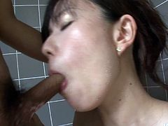 My Asian girl loves to act dirty in the bathtub. She's a whore when it's about fucking so here we were in the bathtub fucking insanely. I stood up and gave her my hard dick for some sucking making her happy. She wrapped her pink lips around my penis and gave it some suction power while playing with her tits.