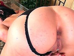 Pretty black haired babe Rihanna Samuel in with natural tits and delicious firm ass in black thong and slutty shoes only polishes her twat on the floor and glass dining table.