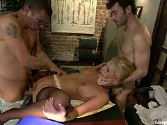 Busty blonde plays dirty games with James Deen and Mr. Pete. The guys finger and fist the bitch's pussy and ass and then destroy them with their pricks.