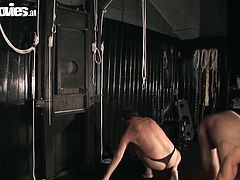 Larissa is tough mistress who dominates on two sub dudes. She puts on strapons on their faces. Then she rides their faces. Kinky porn clip including BDSM elements. So if you are into such wicked action, join MMF threesome and have fun.