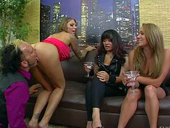 Three nasty and hot ass babes Annie Cruz, Juelz Ventura and Tegan Summers enjoy in teasing one lusty and aroused lad on the sofa and enjoy in getting their pussies licked