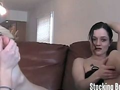 Check out various sluts sucking on their favorite socks and having wild lesbian action. They enjoy licking their sexy feet with stockings on!