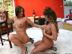 Cathy Heaven and her lusty girl friends enjoy in taking on each others boobs and pussies in passionate sex sessions in the gym and all over the house