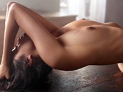 Gorgeous chick Bryiana Noelle is having a photo session indoors. She strips and demonstrates her nice body and then lies down on a table and poses for the cam.