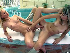 Two skinny and aroused blonde lesbians Sugar Baby and Mugur enjoy in spending their day by the swimming pool, playing with each others shaved taco and pleasing each other