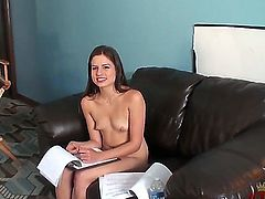 Beautiful girl with long legs, nice ass and natural breasts Christie Nelson stays naked. She starts giving interview after that showing all parts of body she got during that.