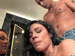 Kristina Rose and her lusty friend Andy San Dimas enjoy in seducing Vin Deacon and getting their hands on his hard cum shooter in their passionate and arousing group sex