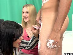 These three MILFs are going to have fun playing with one cock in this CFNM foursome with cock shaving, riding and sucking action.