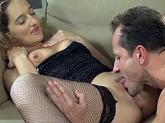 Lustful blonde milf is getting naughty with a guy indoors. She lets him eat her snatch and then rides his cock before sucking it hungrily.