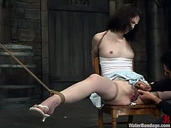 Chubby brunette Faith Leon is having fun with Wolf Lotus in a basement. Wolf pulls the hottie by the pussy lips and nipples and then makes her swim in a glass box.