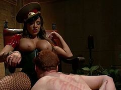 Check out Nika Noire, the busty, dominant brunette dominating a guy in many kinky ways in this bondage femdom vid.