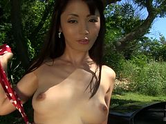 She is an exotic Asian girl who likes to pose and masturbate for the camera. She spreads her legs wide and slips her fingers inside her pussy and starts pumping them in and out pushing herself to the edge of powerful orgasm.
