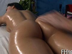 Hot babe getting her oiled up pussy fucked deep