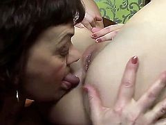Brunette Marsha with massive jugs and Nicole Sweet do lewd things together