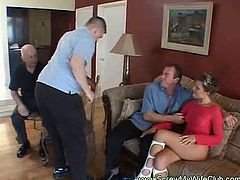 Beautiful wife is fucking hardcore with a stranger while her husband is watching her receiving the creamy cumshot in her mouth.
