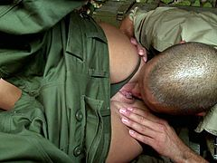 She is trained to withstand heavy pounding and hard dicks. Sexy blonde soldier babe blows the cock of the big and muscular man!