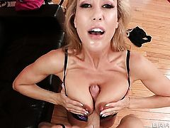 Brandi Love with huge hooters and her hot bang buddy Criss Strokes are in the mood for oral sex