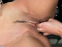 Brunette Dana Weyron with gigantic jugs is hungry for lesbian sex and gets used by April Blue