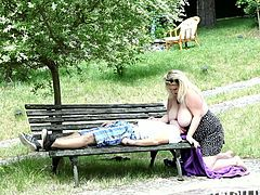 See the perverse blonde bbw Rebecca as she flaunts her big natural tits while rubbing them in her man's face. Then she´s ready to ride his dong into heaven with her shaved slit by the poolside.