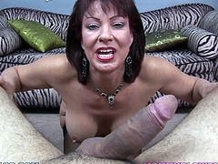 Slutty brunette mom Vanessa Videl shows her boobs and shaved coochie to some guy and kneels in front of him. She sucks and rubs his schlong and allows the man to cum on her face.
