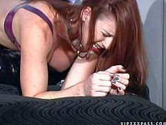Anastasia enjoys in her role of a slave girl