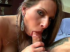 Bitch with big juggs Rachel Roxxx gives cool blowjob and titjob to lucky man first of all. He gets so much pleasure from it before feeling his cock into her so hot wet pussy.