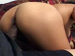 She is very good at groupsex and needs at least two guys to satisfy and match her sex temper. Voracious Indian babe fucks two men on the couch.