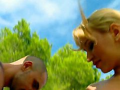 Amazing pornstar Aleska Diamond with her cool bum exposes delights before pretty pal outside. She gives a head to him before unforgettable pounding in doggy style.