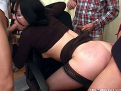 Modest clerk Petra turns into a slut thirsting for hot foursome in the office