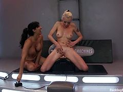 Isis Love and Lorelei Lee lick each others pussies with great pleasure. Later on they get tied up and toyed deep by fucking machines.