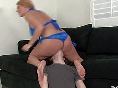 Busty and arousing blonde pornstar Sophie Dee enjoys in having a nasty and steaming hot living room sex session on the couch and gets recorded by a hidden cam