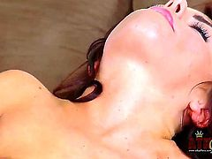 Adriana Chechik takes her sexy high heels and massages her feet for a bit. She then takes her panties off and starts playing with that big button of hers. The orgasms are just insane.
