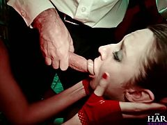 Dirty sluts are using the strapon during bizare session of hot threesome sex