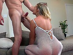 Naughty Jmac seduced his hot girlfriend Katie Banks for fuck she got down on the floor in her sexy white thong and sucked his dick and got hardly fucked.