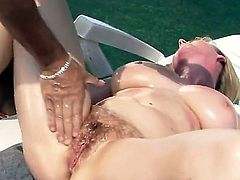 Tempting mature blonde cougar Monik with big juicy tits and cheep make up gets her wet cunt boned balls deep by her randy neighbor to wet orgasms in rough outdoor action.