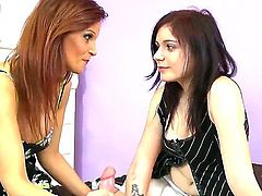 Lusty cock addicted whorish milf  Syren De Mer with heavy make up and big knockers teaches her pretty pale daughter Alexis Blaze how to suck cock in threesome with her boyfriend.