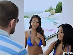 Here are the names of these amazing porn divas. Anissa Kate and Sharon Lee. This is a very interracial threesome porn on the beach house