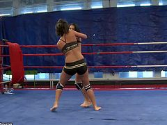 Honey and Melanie enjoy in wrestling session