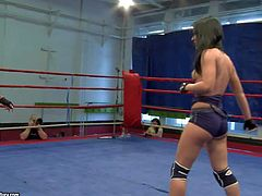 Honey Demon and Melanie Memphis enjoy in taking on each other in the gym and wrestling really good in front of the camera, taking each others clothes off and having fun