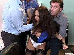 The guys in the office couldn't control the need to fuck Ava Addams anymore so they finally snapped and gangbanged her in the office!