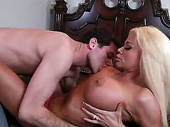 Nikita Von James with big boobs and shaved pussy having hardcore fun with hard dicked bang buddy James Deen