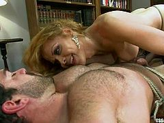 Lecherous blonde tranny Johanna B ties Vince Ferelli up and fondles him. Then she drives her cock into his butt and fucks it like never before.
