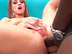 Having huge black tool drilling her tight ass makes blonde babe to scream like sluts