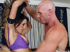 Busty and arousing brunette pornstar Kortney Kane enjoys in getting rammed hard in doggy pose by her new neighbor Johnny Sins in the back yard after fixing her car