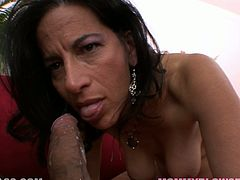 This kinky and way old woman tries her best to keep in shape! She gets a huge cock in her mouth and that is going to make her day!