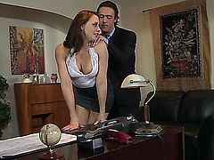 Skirted Secretary is Fucked Bad CHANEL PRESTON  hardcore secretary office licking pussy milf pornstar