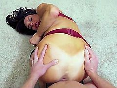 Skilful brunette milf Veronica Avluv with big juicy tits and sexy tanlines in stockings rides on Mark Wood and gets pounded from behind on the floor in point of view.