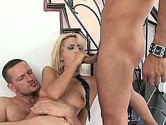 Slutty slender blonde slut Blanche with heavy make up in fishnet stockings gets her tight ass banged hard by Ian Scott and Mike Angelo all over the place in rough threesome.