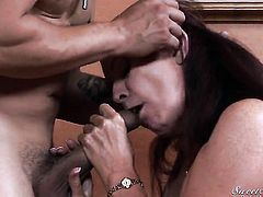 Magdalene St. Michaels looks for a chance to swallow Anthony Rosano hot fresh cum after dick sucking